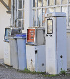 Closeup of abandoned petrol pumps Stock Photos