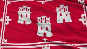 Closeup Aberdeen city flag, UK. Aberdeen closeup flag, city of UK, realistic animation seamless loop - 10 seconds long stock footage