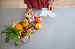 Closeup from above of fall fruits and vegetables in kitchen Stock Image