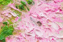 Closeup of abstract hand made background, pink flowers, texture of oil painting on canvas. Art design, for background royalty free stock photo