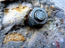 Closeup of Steel Bolt and Concrete Wall. Closeup abstract of steel bolt fastener in concrete wall with bright colors and rough tactures royalty free stock photography