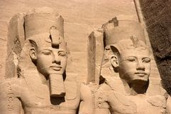 Closeup of Abu Simbel, Ancient Egypt, Travel. Closeup detail of Ramses statues at Abu Simbel. One of many travel destinations when touring sites from ancient royalty free stock photography