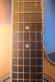 Closeup acoustic guitar , musical equipment for music background Stock Photography