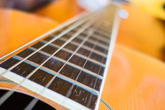 Closeup acoustic guitar , musical equipment for music background Royalty Free Stock Photos