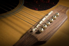 Closeup acoustic guitar string Royalty Free Stock Images