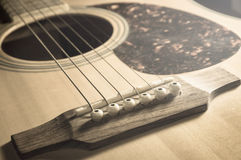 Closeup acoustic guitar,vintage filtered. Stock Photo