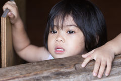 Closeup adorable face little asian girl. Royalty Free Stock Image