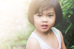 Closeup adorable face little asian girl. Royalty Free Stock Photo