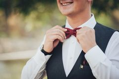 Closeup of adult handsome smiling groom in white shirt adjusting. Closeup of adult handsome man adjusting stylish brown male bow tie Stock Photography