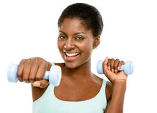 Closeup African American woman exercising white background Royalty Free Stock Images