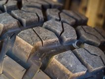 Closeup of aggressive offroad mud tire tread on 4x4 Royalty Free Stock Photography