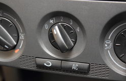 Closeup of air conditioning button in car Royalty Free Stock Images