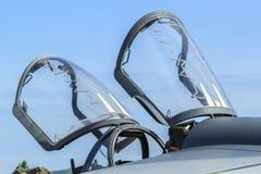 Closeup of aircraft canopy Stock Photo