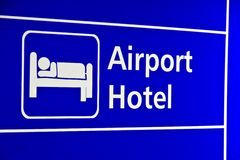 Closeup airport hotel signs Royalty Free Stock Photo