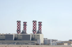 Closeup of Al Dur power plant chimneys, Bahrain Stock Image