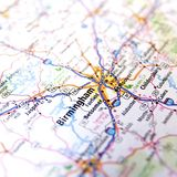 Closeup of Alabama Highway Map Royalty Free Stock Photography