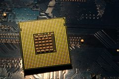 Closeup of aligned CPU Computer Processor. Background Royalty Free Stock Images