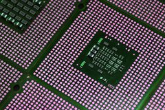 Closeup of aligned CPU Computer Processor. Background Royalty Free Stock Photography