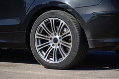 Closeup of an alloy wheel Royalty Free Stock Photography