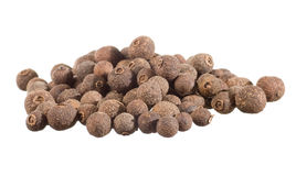 Closeup of allspice. Isolated on white royalty free stock photography