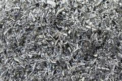 The closeup of aluminium chips stock photos