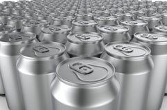 Closeup aluminium soda cans. 3d illustration. Stock Photos