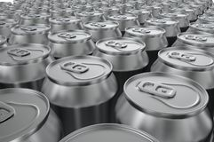 Closeup aluminium soda cans. 3d illustration. Closeup aluminium soda cans on white background. 3d illustration Royalty Free Stock Images