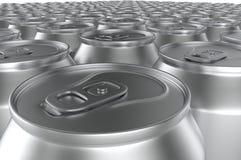 Closeup aluminium soda cans. 3d illustration. Stock Image