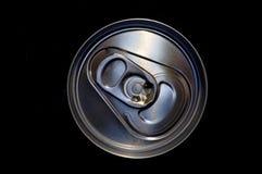 Closeup aluminum drink can. In black Royalty Free Stock Photos