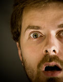 Closeup on amazed scared man. Close-up portrait of very amazed guy Royalty Free Stock Photos