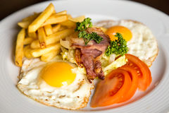 Closeup american breakfast with potato bacon eggs Stock Photography