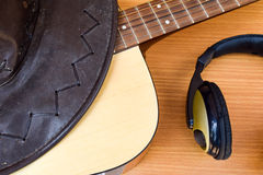 Closeup American Country music background with guitar and cowboy hat stock photos