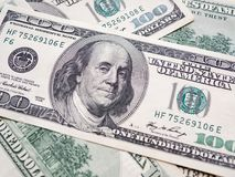 Closeup American dollars banknote. One hundred dollar banknote. Royalty Free Stock Photography