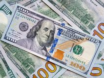 Closeup American dollars banknote. One hundred dollar banknote. Royalty Free Stock Image