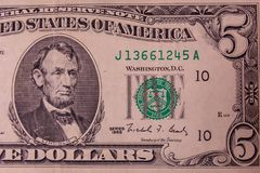 Closeup of american five dollars banknote stock photography