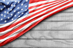 American flag. Closeup of American flag on boards Stock Photos
