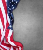 USA flag. Closeup of American flag on grey background Royalty Free Stock Image