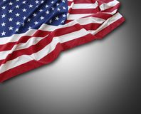 USA flag. Closeup of American flag on grey background Stock Image