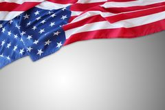 USA flag on grey. Closeup of American flag on grey background Stock Images