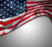 USA flag on grey. Closeup of American flag on grey background Royalty Free Stock Photos