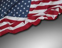 USA flag on grey. Closeup of American flag on grey background Royalty Free Stock Image