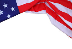 Closeup of American flag isolated on white background. Royalty Free Stock Photography