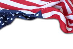 USA flag. Closeup of American flag on plain background Stock Photos