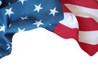 USA flag on white. Closeup of American flag on white background Stock Photos