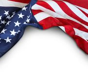 USA flag on white. Closeup of American flag on white background Royalty Free Stock Photos