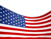 USA flag on white. Closeup of American flag on white background Stock Photography