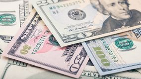 Closeup American money twenty dollar bill. Andrew Jackson portrait, US 20 dollar banknote fragment macro.  stock photography