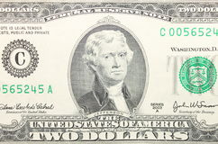 Closeup of american two dollar bill. Close up of american two dollar bill stock photography