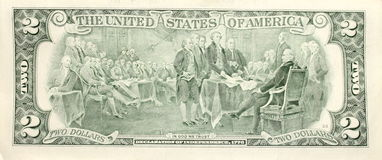 Closeup of american two dollar bill. Royalty Free Stock Photography