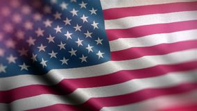 Closeup of american USA flag rippled, stars and stripes. United states of america flying in the wind stock video